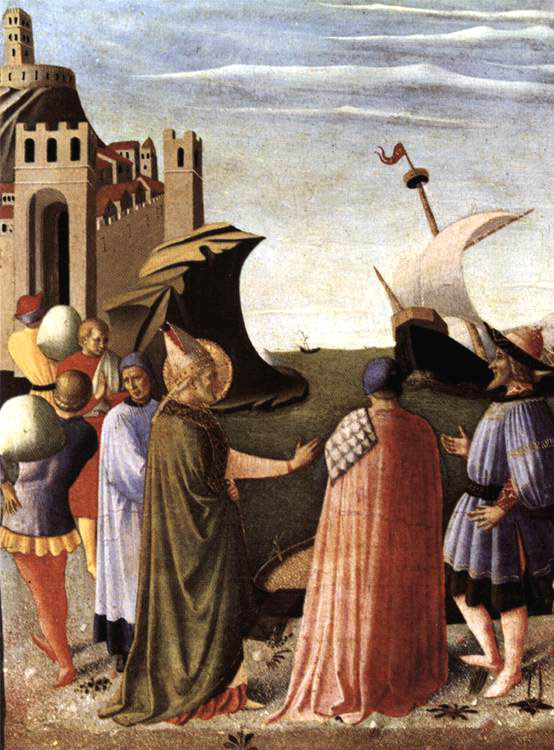 A detail from Fra Angelico's painting St Nicholas saves the ship, 1437